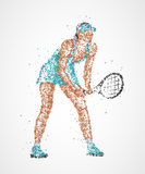 Tennis, abstract, player. Abstract tennis player of colorful circles. Photo illustration Royalty Free Stock Photo