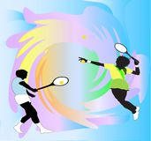 Tennis Anyone. Male and Female tennis players against a vivid splash background Royalty Free Stock Image