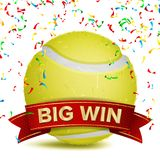Tennis Award Vector. Red Ribbon. Big Sport Game Win Banner Background.. Yellow Ball. Confetti Falling. Realistic Stock Image