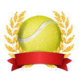 Tennis Award Vector. Sport Banner Background. Yellow Ball, Red Ribbon, Laurel Wreath. 3D Realistic  Illustration. Tennis Award Vector. Sport Banner Background Royalty Free Stock Images
