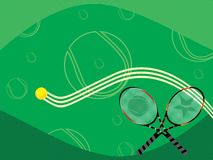 Tennis background. Green tennis background with rackets and ball Royalty Free Stock Images