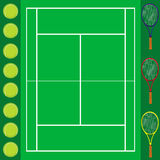 Tennis background card. This image represents a tennis court with different items on the side Stock Images