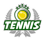 Tennis Badge Logo Template with ball and laurel wreath. Stock Images