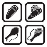 Tennis bag or racket bag icon in four vatiations.  Stock Photography