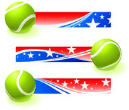 Tennis Bal with Patriotic Banners Stock Photo
