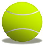 Tennis ball. Illustration of yellow tennis ball in white background (isolated Royalty Free Stock Photography