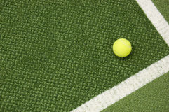 Tennis ball. Tennis compositon. Yellow ball, lines and court stock photography