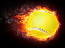 Tennis Ball. On Fire. 2D Graphics. Computer Design Stock Image