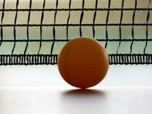 Tennis ball. And tennis net on the tennis table royalty free stock image
