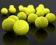 Tennis ball. 3d image of several tennis ball isolated in black background royalty free illustration