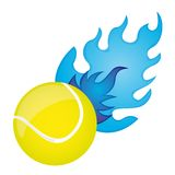 Tennis ball. Yellow tennis ball with blue fire over white background. vector Stock Images