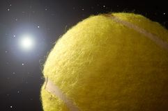 Tennis ball. In the space royalty free stock image
