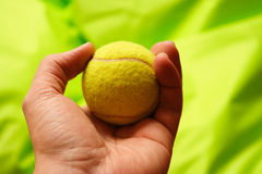 Tennis ball. Man holding a tennis ball in his hand royalty free stock photo