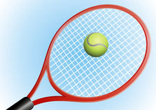 Tennis ball. The tennis ball and racket are in the shallow blue background Stock Photo