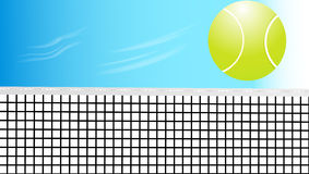 Tennis ball. Gross the net on sky background Royalty Free Stock Image