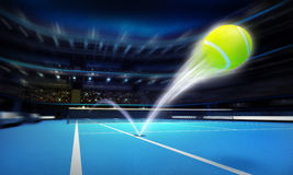 Tennis ball ace strike on a blue court in motion blur vector illustration