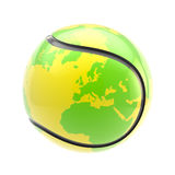 Tennis ball as an Earth planet sphere isolated. Tennis ball as a glossy plastic Earth planet sphere isolated on white Royalty Free Stock Photography