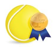 Tennis ball with award Stock Photo