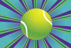 Tennis Ball Background. Colorful background with rays and tennis ball over it Royalty Free Stock Photography