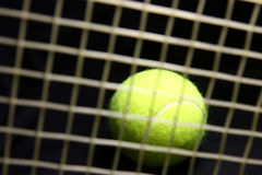 Tennis ball behind the racket Stock Image