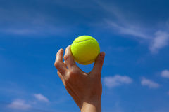 Tennis ball. And blue sky Royalty Free Stock Photos