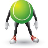 Tennis ball cartoon character Stock Image