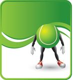 Tennis ball cartoon character. Cartoon character of a tennis ball Stock Images