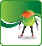 Tennis ball cartoon character wearing a visor Royalty Free Stock Photo