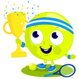 Tennis ball character champion cheering and holding cup. Stock Photos