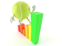 Tennis ball character with chart Stock Photos