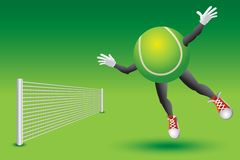 Tennis ball character flying toward the net Royalty Free Stock Photo