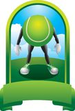 Tennis ball character in green display Stock Images