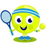 Tennis ball character playing tennis Royalty Free Stock Photography