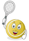 Tennis Ball Character with Racket. A funny cartoon tennis ball character holding a racket, isolated on white background. Eps file available Stock Photo