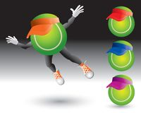Tennis Ball Characters With Visors Stock Images