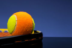 Tennis ball for children with tennis racket Royalty Free Stock Image