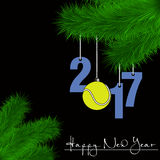 Tennis ball and 2017 on a Christmas tree branch Stock Photo