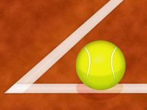 Tennis ball on clay court. Illustration of tennis ball on white line of clay court Royalty Free Stock Photos