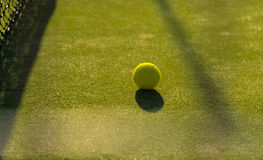 Tennis ball close to the nett royalty free stock image