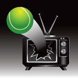 Tennis ball coming out of television screen Royalty Free Stock Photo