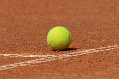 Tennis ball on court Stock Photo