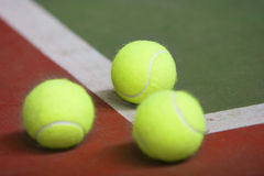 Tennis ball in court Royalty Free Stock Images
