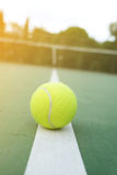 Tennis Ball on the Court. Tennis Ball on the tennis Court stock photo