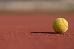 Tennis Ball on the Court Close up Stock Images