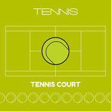 Tennis ball and court. Flat sports icon. Vector illustration Stock Photography
