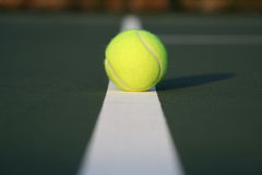 Tennis ball on court line Royalty Free Stock Photo