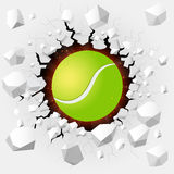 Tennis ball with cracked background Stock Photos