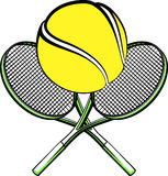 Tennis ball with crossed rackets Royalty Free Stock Photos