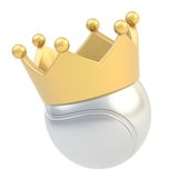 Tennis ball in the crown isolated. Tennis silver metal ball in the golden crown isolated over the white background Stock Photos