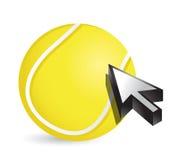 Tennis ball with cursor arrow - sport shopping Royalty Free Stock Photos